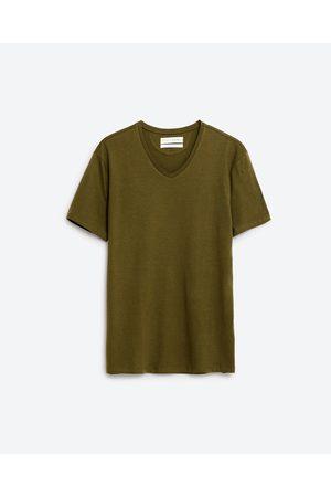Uomo T-shirts - Zara T-SHIRT SCOLLO A V