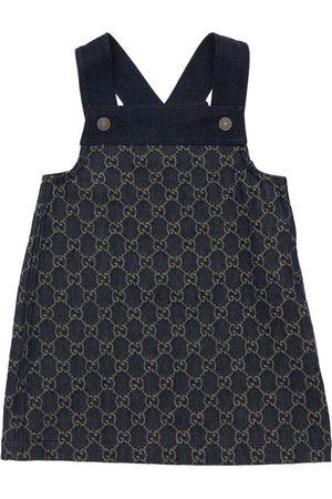 Gucci Baby Gg Jacquard Organic Denim Overalls
