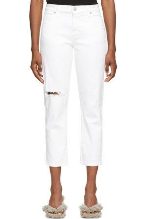 Citizens of Humanity White Emerson Crop Slim Boyfriend Jeans