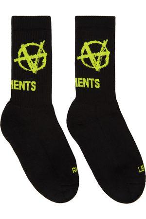 VETEMENTS Black & Yellow Anarchy Logo Socks