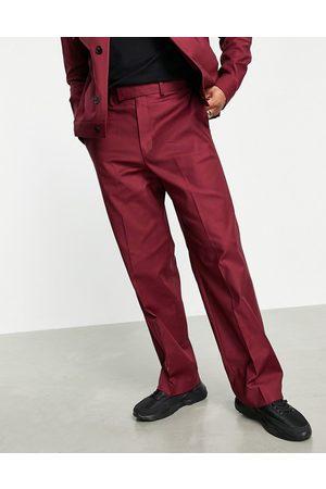 ASOS Uomo Chinos - Pantaloni eleganti a fondo ampio bordeaux in coordinato