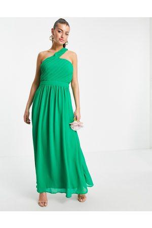 VILA Donna Vestiti asimmetrici - Vestito lungo da damigella verde asimmetrico monospalla
