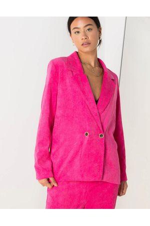 Daisy Street Donna Blazer - Blazer comodo con bottoni vintage in tessuto a coste di colore acceso in coordinato