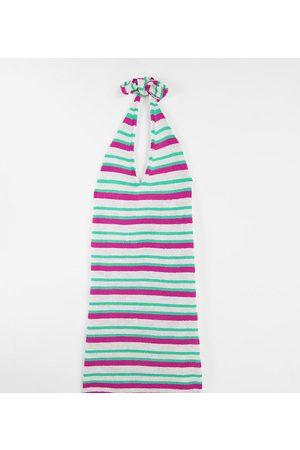ASOS ASOS DESIGN Maternity - Vestito corto in maglia allacciato al collo a righe