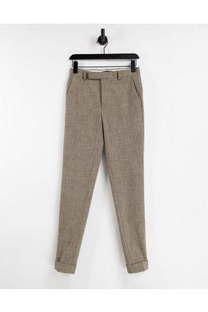 ASOS DESIGN Pantaloni eleganti super skinny con tratteggio incrociato, color pietra-Neutro