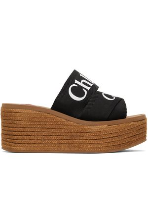 Chloé Donna Zeppe - Black Woody Wedge Heeled Sandals