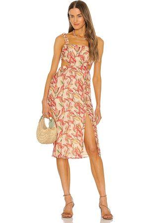 Lovers + Friends Bosworth Midi Dress in - Neutral. Size L (also in XXS, XS, S, M, XL).