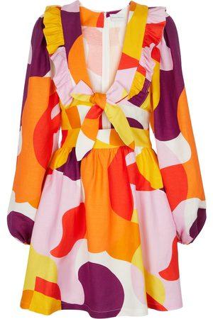 Rebecca Vallance Miniabito Del Rio in misto lino con stampa
