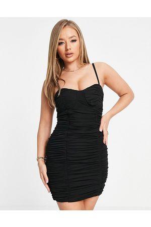 Club L London Vestito corto arricciato con dettaglio a corsetto e spalline