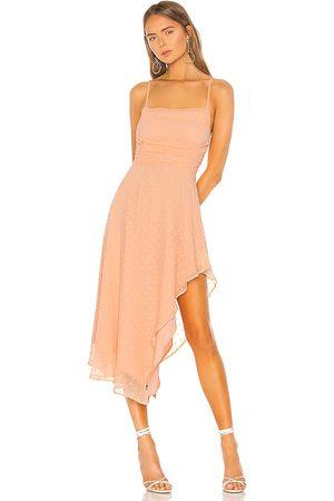 NBD Yvonne Midi Dress in - Orange. Size L (also in XXS, XS, S, M, XL).