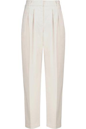 Brunello Cucinelli Pantaloni in cotone a vita alta