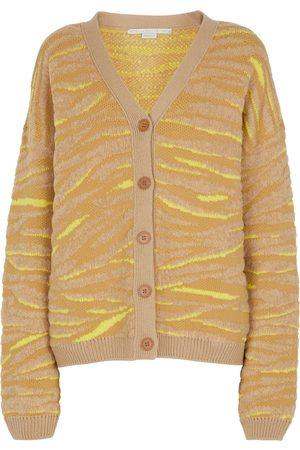 Stella McCartney Cardigan in jacquard di misto lana zebrato