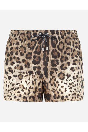 Dolce & Gabbana Collection - Boxer da mare corto stampa leopardo con placca male 3