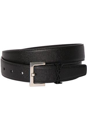 Saint Laurent Uomo Cinture - Cintura In Pelle Con Logo Ysl 3cm