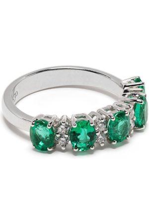 Leo Pizzo Donna Anelli - Anello in oro bianco 18kt Eternity con diamanti e smeraldo