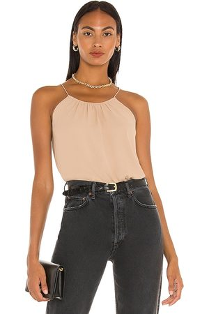 ATM Anthony Thomas Melillo Georgette Halter Top in - Tan. Size L (also in XS, S, M).