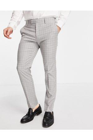 River Island Pantaloni da abito skinny grigi a quadri mini