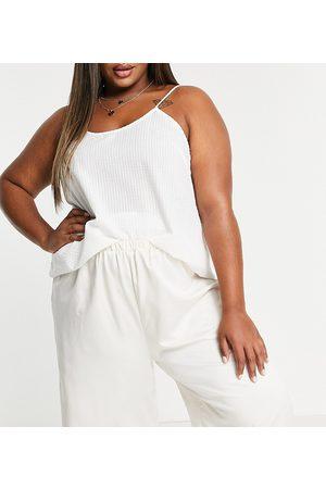 Loungeable Plus - Mix and Match - Canottiera del pigiama in tessuto seersucker bianca
