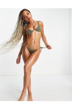 ASOS Mix and Match - Slip bikini con laccetti laterali oro glitter