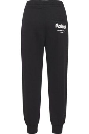 Alexander McQueen Donna Joggers - Pantaloni Jogger In Jersey Di Cotone Con Logo
