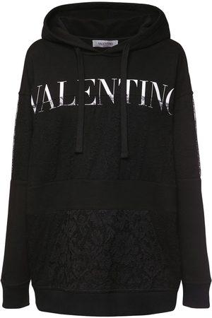 VALENTINO Donna Felpe - Felpa In Jersey Di Cotone Con Cappuccio E Logo