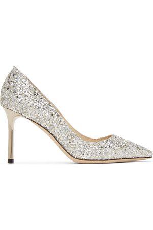 Jimmy Choo Silver Coarse Glitter Romy 85 Heels