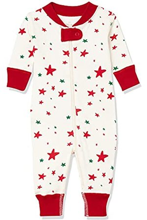 Moon and Back by Hanna Andersson Moon and Back One Piece Footless Pajamas Infant-And-Toddler-Sleepers, Red/Green Star, 0 mesi