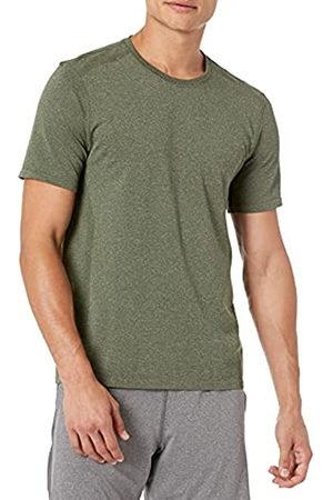 Amazon Uomo Polo - Maglietta con girocollo da uomo senza cuciture, Dark Olive Heather, US L