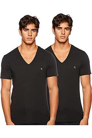 Calvin Klein S/s V Neck 2pk Top Pigiama, Nero , Small Uomo