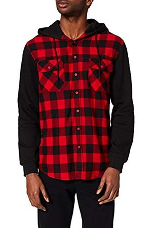 Urban classics Hooded Checked Flanell Sweat Sleeve Shirt Camicia, Mehrfarbig , Small Uomo