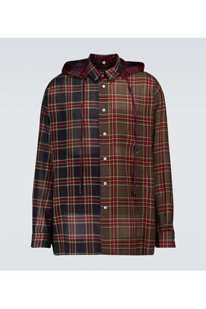 LOEWE Camicia a quadri in lana stretch