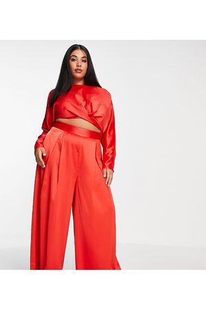 ASOS Donna Leggings & Treggings - Curve - Pantaloni a fondo ampio rossi con pieghe davanti in coordinato