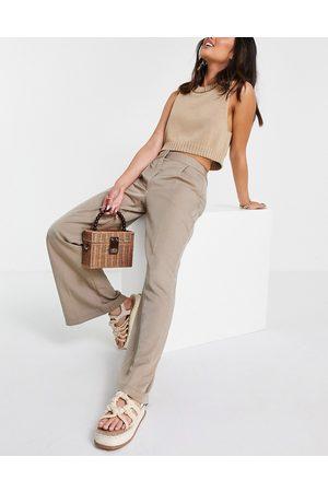 Closet Donna Leggings & Treggings - Pantaloni sartoriali extra larghi a zampa, colore beige chiaro