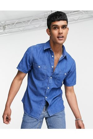 Tommy Hilfiger Uomo Camicie a maniche corte - Tommy Jeans - Camicia di jeans a maniche corte lavaggio medio
