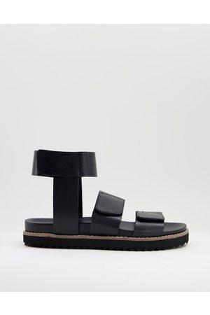 ASOS Uomo Sandali - Sandali in pelle nera con cinturino alla caviglia