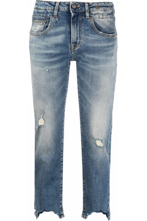 R13 Jeans crop con effetto vissuto