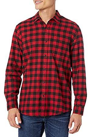 Amazon Uomo Camicie a maniche lunghe - Camicia da uomo, a maniche lunghe, vestibilità standard, a quadri, in flanella, , US M