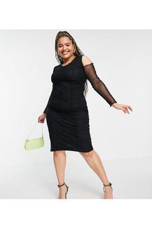 ASOS ASOS DESIGN Curve - Vestito midi in rete con spalle scoperte e cuciture modellanti a vista