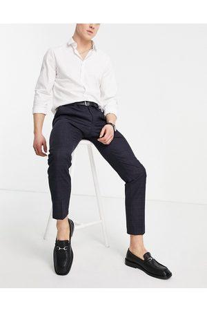 Moss Bros Moss London - Pantaloni da abito slim navy a quadri
