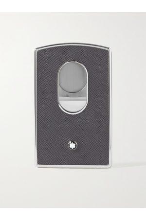 Mont Blanc Uomo Portafogli e portamonete - Sartorial Cross-Grain Leather and Silver-Tone Card Case