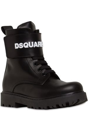 DSQUARED2 Stivali Combat In Pelle Con Logo