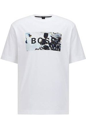 HUGO BOSS T-shirt relaxed fit in cotone con logo grafico astratto