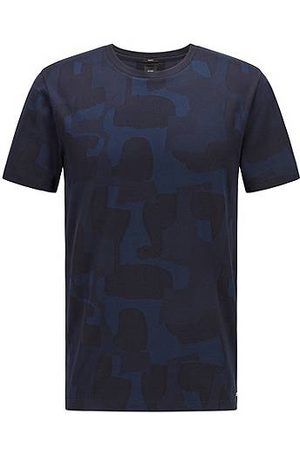 HUGO BOSS Slim-fit T-shirt in mercerised cotton with shadow pattern