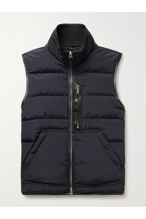 TOM FORD Uomo Giacche di pelle - Leather-Trimmed Quilted Shell Down Gilet