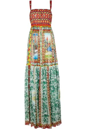 Dolce & Gabbana Abito lungo in chiffon di seta con stampa