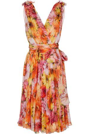 Dolce & Gabbana Donna Vestiti stampati - Abito midi in seta con stampa floreale