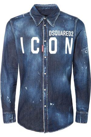 Dsquared2 Camicia Western In Denim Di Cotone Con Stampa