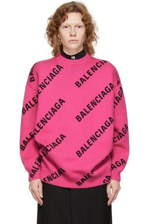 Balenciaga Pink Allover Logo Sweater