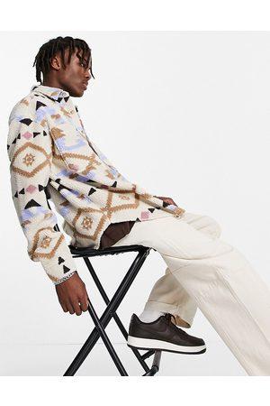 ASOS Uomo Casual - Camicia oversize in pile borg con stampa azteca stile anni '90