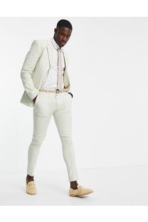 ASOS Wedding - Pantaloni da abito super skinny in lino con motivo pied de poule